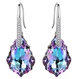 EleQueen 925 Sterling Silver CZ Baroque Drop Hook Earrings Vitrail Light Made with Swarovski Crystals