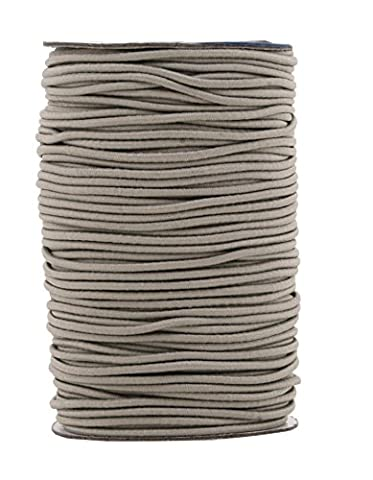 Mandala Crafts 2mm 70M Round Rubber Fabric Crafting Stretch Elastic Cord String (Gray)