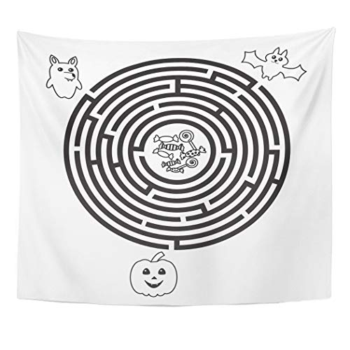 Emvency Wall Tapestry Quiz Circular Halloween Maze for Preschool School Kids Funny Labyrinth with Pumpkin Wolf and Bat Round Brain Candy Child Decor Wall Hanging Picnic Bedsheet Blanket 60x50 Inches -