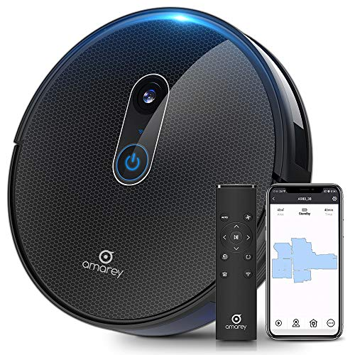 Amarey A980 Robot Vacuum with Vision Mapping Camera – Self-Charging Robotic Vacuum Cleaner Work with Alexa Wi-Fi APP, 1600Pa Strong Suction, 110 min Runtime, for Pet Hair Carpets, 2 Boundary Strip