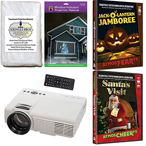 AtmosFx Jack O Lantern Jamboree and Santa's Visit DVD's with 800 x 480 Resolution Projector, Hollusion Projection Screen (W) + Reaper Bros Rear Projection -