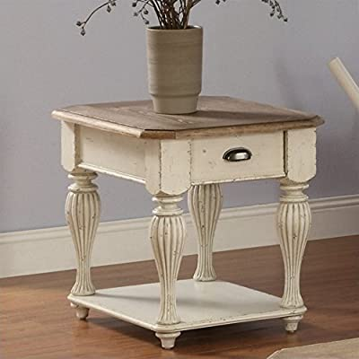 """Riverside Furniture Coventry Two Tone Rectangular End Table, 28"""" - One drawer with dovetail Construction Wood on wood guide Fixed bottom shelf - living-room-furniture, living-room, end-tables - 51F8kx0O6HL. SS400  -"""