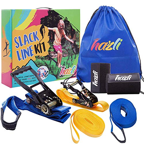 Hazli Slackline Set for Backyard with Training Line - Complete Beginners Kids Slackline Kit with Tree Protector - Slack Line Rope for Kids - Complete Balance Rope Kit