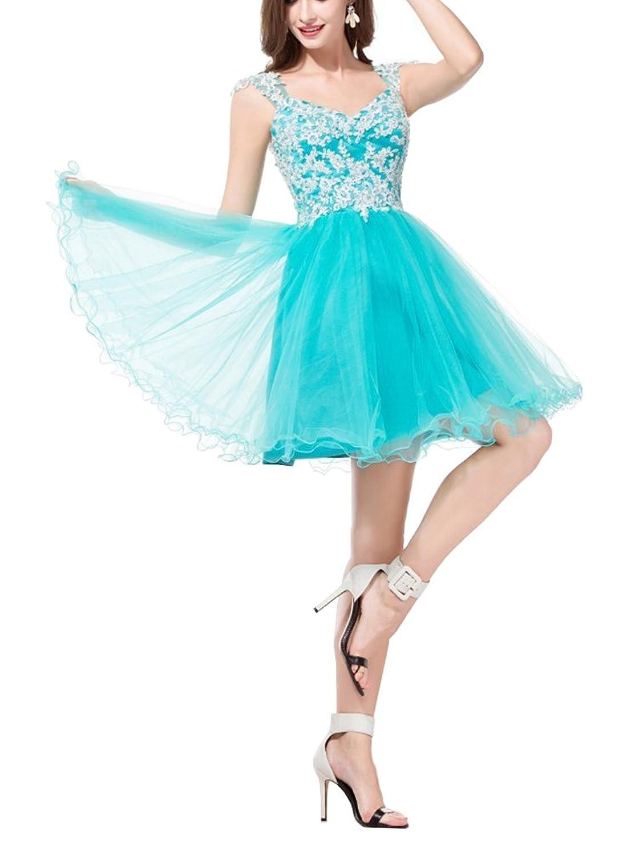 Meledy Women's V-Neck Lace Applique Straps Sequins Mini Homecoming Party Dress