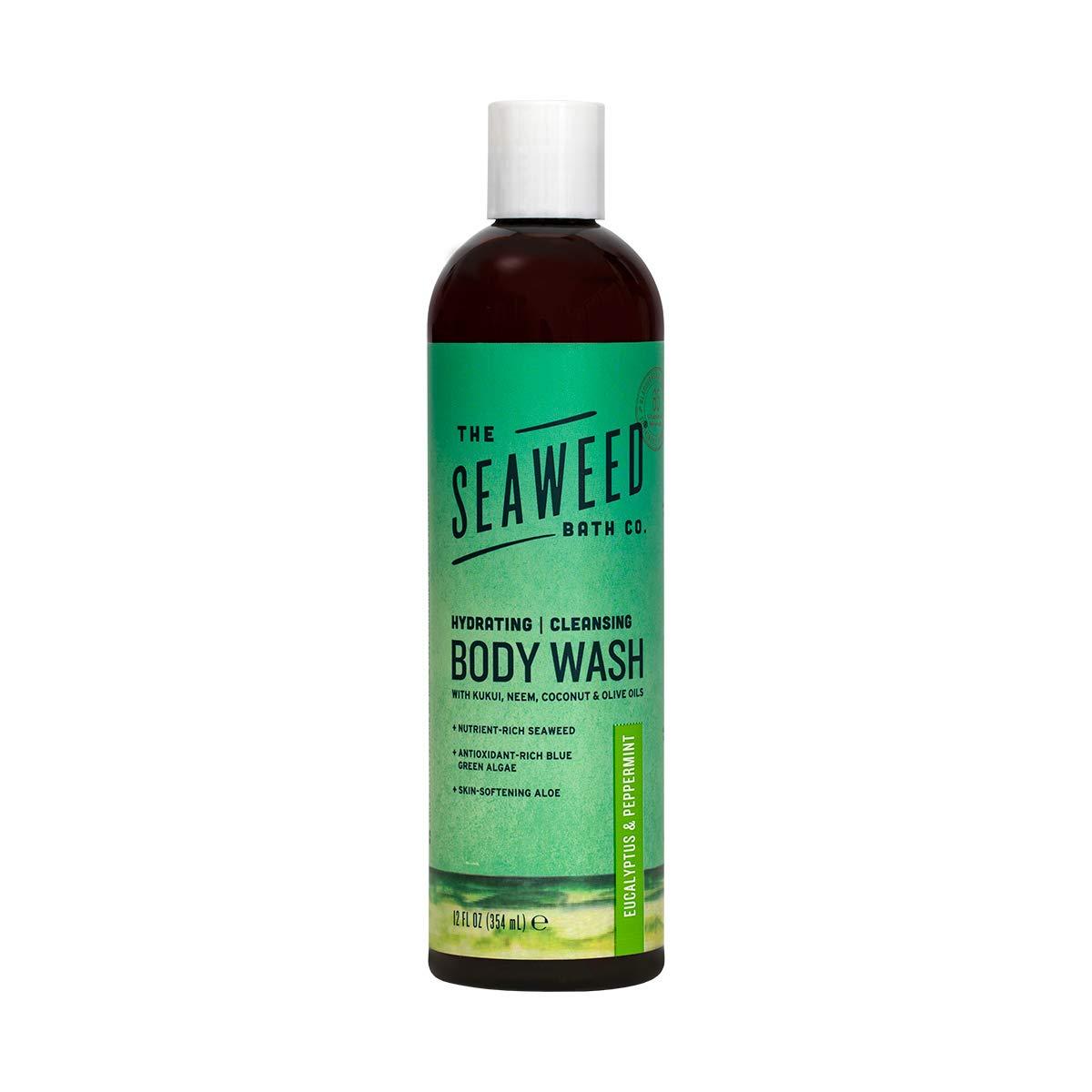 The Seaweed Bath Co. Body Wash, Eucalyptus and Peppermint, Natural Organic Bladderwrack Seaweed, SLS and Paraben Free, 12oz by The Seaweed Bath Co.