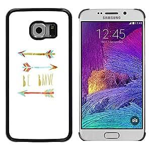 FECELL CITY // Duro Aluminio Pegatina PC Caso decorativo Funda Carcasa de Protección para Samsung Galaxy S6 EDGE SM-G925 // Believe Quote Teal White