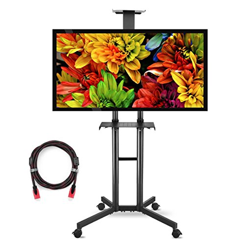 suptek Universal TV Cart For LCD LED Plasma Panel Stand Mount With Wheels Mobile And 2 Adjustable Shelves For 32 to 60 Inch - Panel Black Flat System Mounting