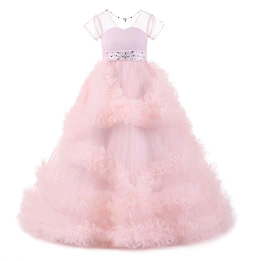 b788d2c76c0 Sheer Neck Nude Pink Flower Girl Dresses with Short Sleeves Pageant Dresses  with Beaded (Child