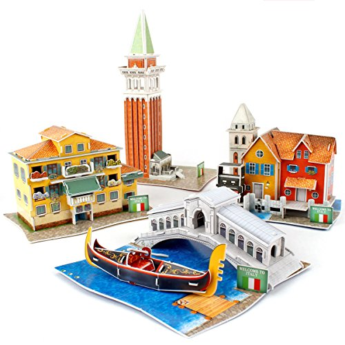 CubicFun 3D Italy Puzzles Architectural Building Model Kits for Venice Cityscapes, 131 Pieces, W3185h ()