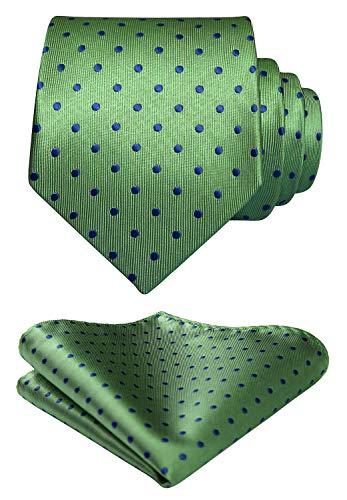 HISDERN Men's Polka Dot Tie Handkerchief Wedding Party Necktie & Pocket Square Set Lime Green ()