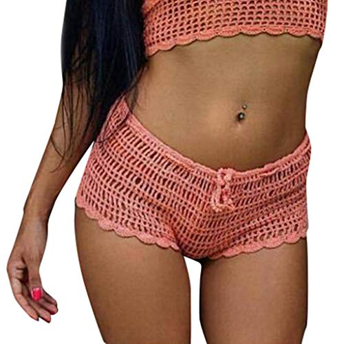 - Mysky Summer Women Popular Sexy Hollow Out Pure Color Beach Swimming Trunks Casual Comfy Knit Boxer Hot Shorts Pink