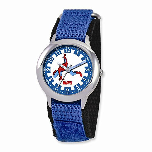 Marvel Spiderman Kids Blue Velcro Band Time Teacher Watch: Length 7 in