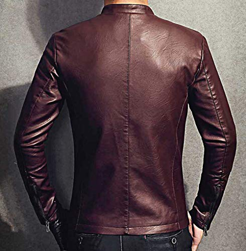 Slim Con 603red Smart Pelle Felpa Bishe Fit Pu Panno Giacche Cappuccio In Harrington Uomo pfqaHX