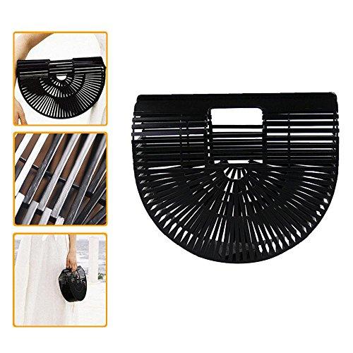 Designer Womens Handbag Large Handmade Bamboo Tote Black Bag EArZUEWn