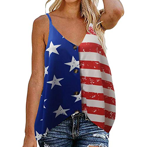 Hopeg Women Casual V-Neckline Vest Shirt Knot Strap Tank Tops,American Flag Camo T Shirt Pants Clothes 4th of July Vacation Commemoration Day Blouse