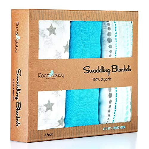 100% Organic Swaddle Blankets | Softest Breathable Bamboo Muslin | Newborn or Toddlers | Unisex Design for Boy or a Girl | Hugh 47x47 Inches | RocaBaby Best Baby Shower Gift - 3 Pack