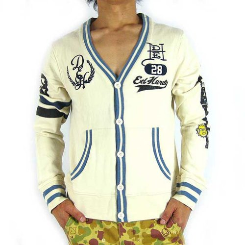 Ed Hardy By Christian Audigier Varsity Jersey Cardigan Sweater Athletic Dept (M, (Ed Hardy Men Sweater)