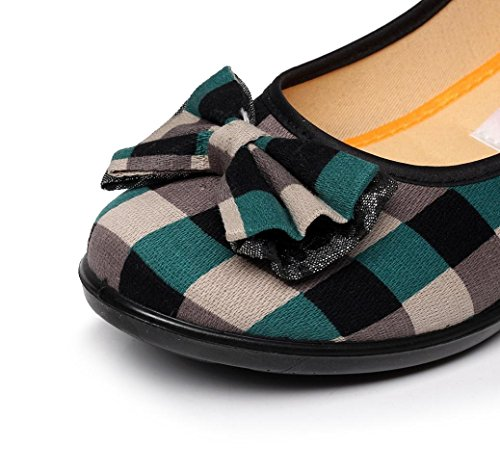 Ancho Cuña Calzado Casual Vestir Zapatos Cuadros Verde PAOLIAN Casual Calzado 642b6f