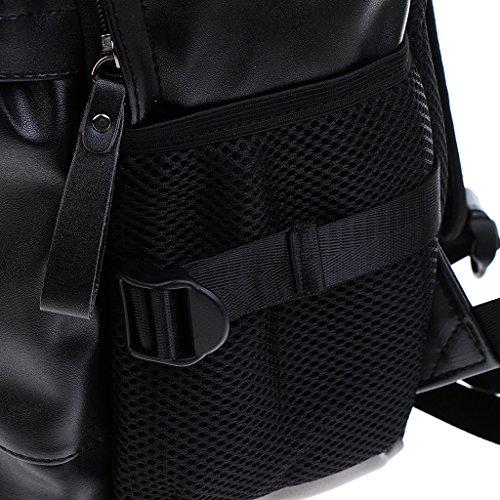 Gazechimp Bolsa para Niños Hombres Viajes Escuela PU Portable Cuero de Poliuretano Durdero Accesorio Negro 1