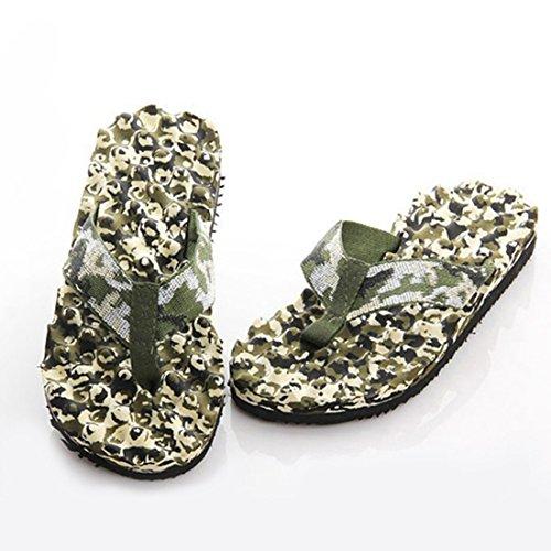 Jiyaru Uomo Eva Camouflage Slipper Sandalo Da Spiaggia Piatto Sandalo Infradito Verde