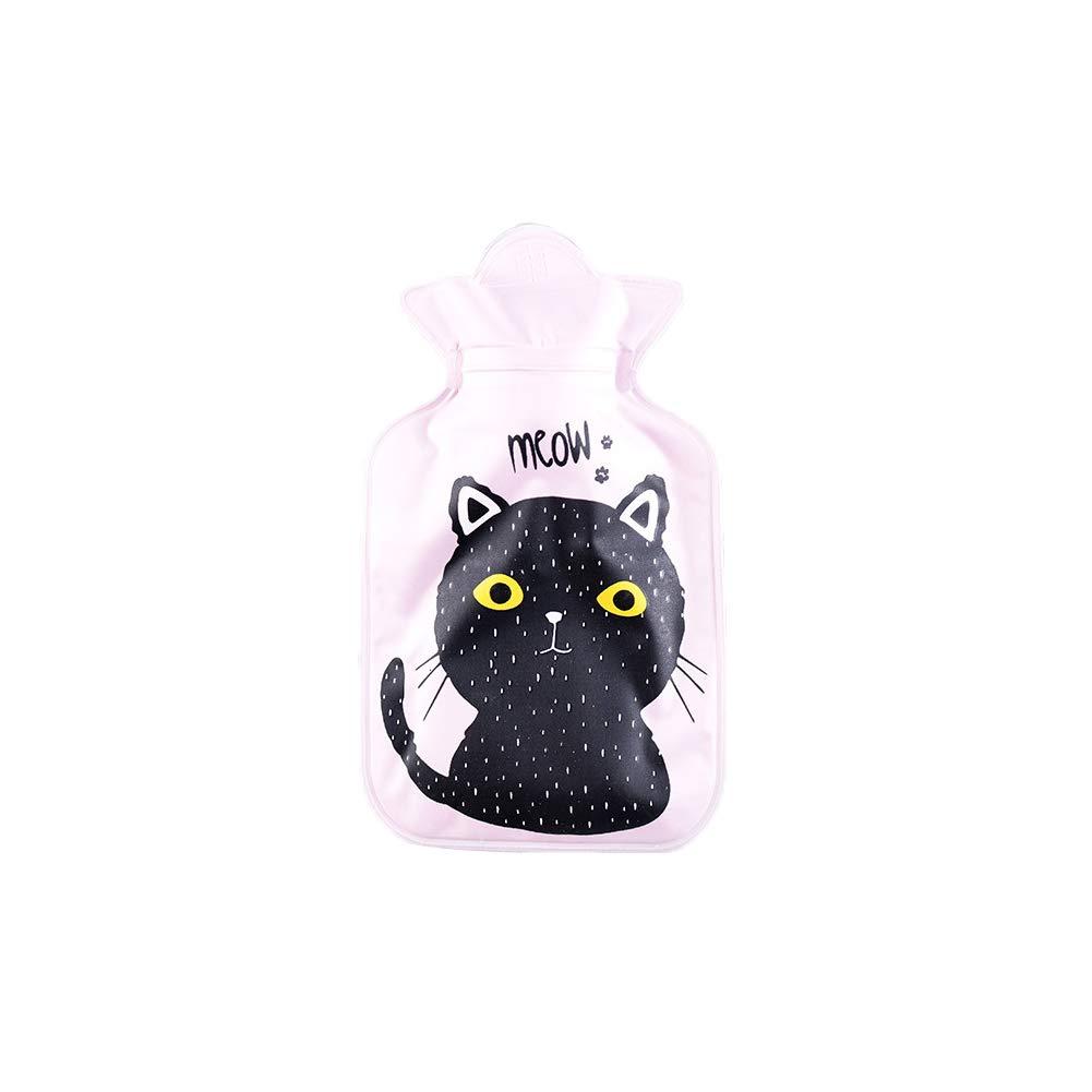 Topdo 1 pcs Katzenmuster Wärmflasche Mini Heißwasserflasche Winter-Wärmflasche Tragbarer Gürtel Wärmflaschen Student Handwärmer(0.17Liter) 19cm*11cm