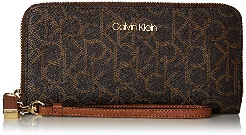 Calvin Klein Key Item Signature Continental, Zip Around Wallet With Wristlet Strap