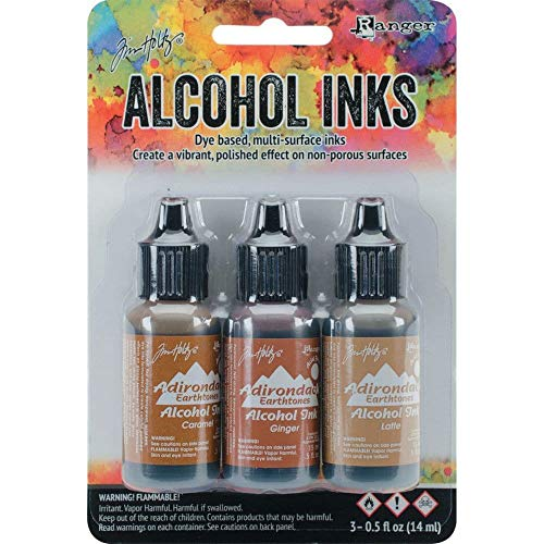 Teakwood Color - Ranger Adirondack Alcohol Ink 1/2-Ounce 3/Pkg, Cabin Cupboard, Caramel/Ginger/Latte (AAI-20691)