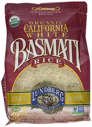 Lundberg California White Basmati Rice, 4 Pounds, Organic (Best Brown Basmati Rice Recipe)