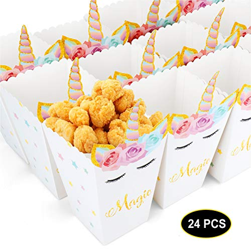 - 24pcs Popcorn Snack Boxes Rainbow Unicorn Design Treat Box Popcorn Containers for Baby Shower Birthday Party Supplies