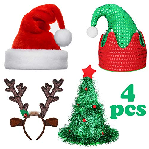 BBTO 4 Pack Christmas Hats and Antler Headband Set Includes Santa Hat, Xmas Tree Hat, Christmas Elf Hat and Reindeer Headbands for Christmas Holiday Party Favors