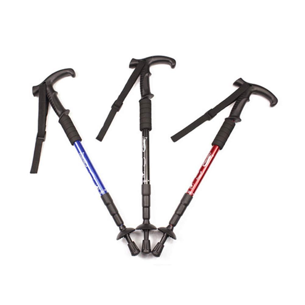 LIOOBO Bastones de Trekking Color Mezclado 4 Secciones Antideslizante Antideslizante Stick Ultraligero Paquete de 2 Piezas de Caminata Ajustable o Bastones para Caminar