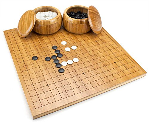 Go Game Stones Convex - Brybelly Go Set with Reversible Bamboo Go Board | Measures 19x19 & 13x13 and Includes Bowls & Bakelite Stones | 2-Player - Classic Chinese Strategy Board Game