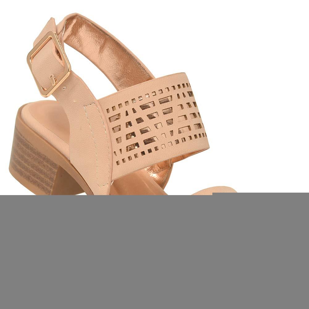 54588ec9b4c Amazon.com | Lov mark Girls Nude Cut-Out Panel Low Block Heel Open ...