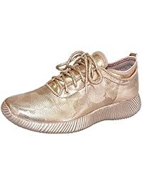 Women's Fashion Sneakers Lace Up Metallic PU Creepers...