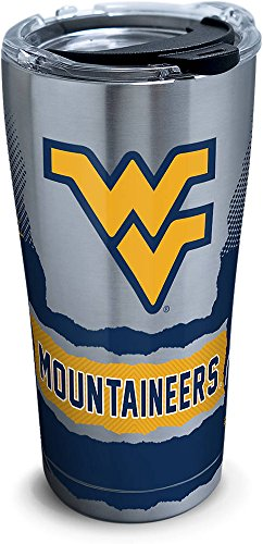 West Virginia Mountaineers Stainless Steel - Tervis 1269216 West Virginia Mountaineers Knockout Stainless Steel Tumbler with Clear and Black Hammer Lid 20oz, Silver