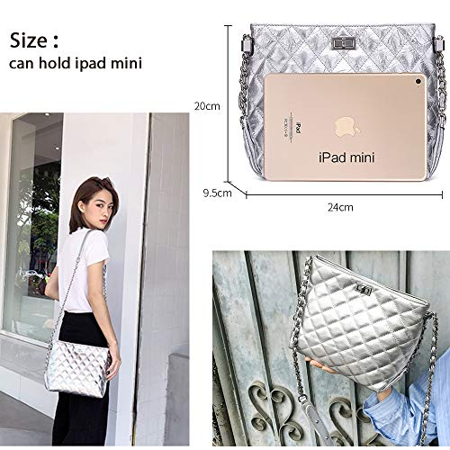 Shoulder Neverout Zipper Purse NP2119S Silver Leather Handbags Chain Women Quilted Bag for Split wqwrEfC