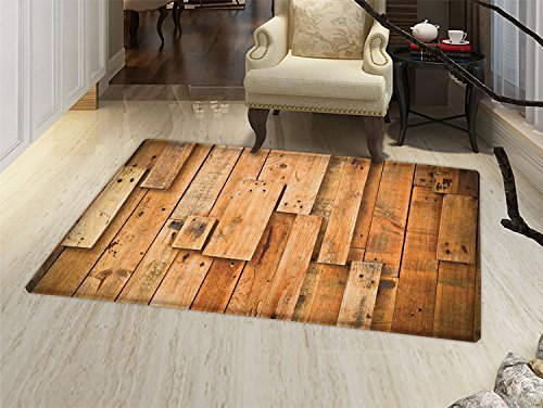 smallbeefly Wooden Bath Mats for floors Lodge Style Teak Hardwood Wall Planks Image Print Farmhouse Vintage Grunge Design Artsy Door Mat indoors Bathroom Mats Non Slip Brown