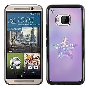 Planetar® ( Purple Glittering Glass Diamond Star ) HTC One M9 Fundas Cover Cubre Hard Case Cover
