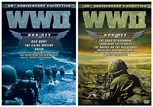 60 Mill Creek Collection (WWII 60th Anniversary Collection: Anzio / The Caine Mutiny / Das Boot (Director's Cut) / The Bridge on the River Kwai / From Here to Eternity / The Guns of Navarone w/ Bonus Documentaries 8-DVD Bundle)