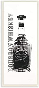 Stupell Industries Rugged Bourbon Whiskey Bottle Alcohol Black Off-White Vintage, Designed by Avery Tillmon Art, 7 x 17, Wall Plaque