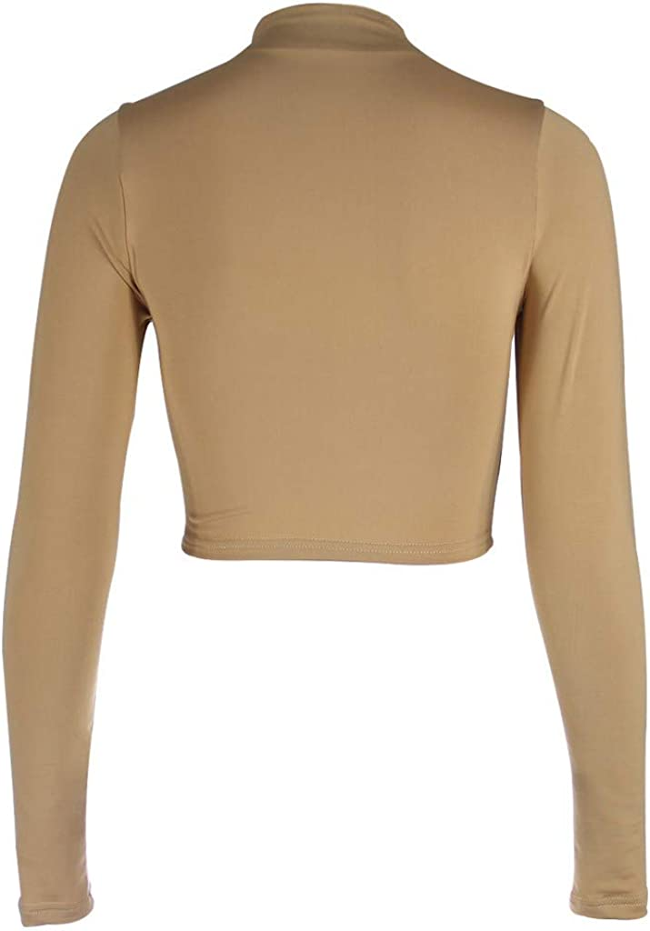 iHENGH Women Exposure of Navel Long Sleeve O-Neck Solid Shirt Tops Blouse