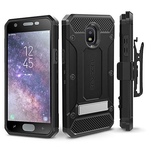 Galaxy J7 2018 / J7 Refine / J7 V 2nd Gen / J7 Star Case, Evocel [Explorer Series Pro] Premium Full Body Case w/Glass Screen Protector, Belt Clip, Metal Kickstand for J7 Top / J7 Crown, Black (Star Protector Case)