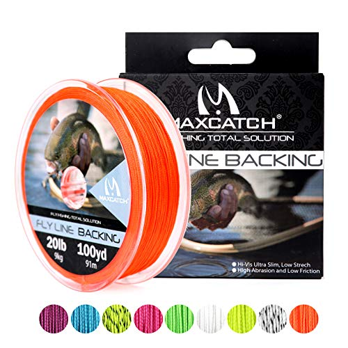 M MAXIMUMCATCH Maxcatch Fly Line Backing for Fly Fishing Braided 20/30lb 100yards (Orange, 20lb)