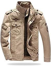Men's Cotton Stand Collar Lightweight Front Zip Military Jacket Plus Size M-6XL