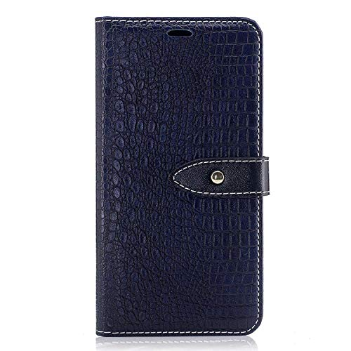 LG Aristo Case, LG Phoenix 3 Case, LG Fortune Case, LG LV3 Case, LG V3 MS210 Case, LG K8 2017 Case, Easytop Crocodile Print PU Leather Flip Folio Wallet Wrist Strap Case Cover (Navy)