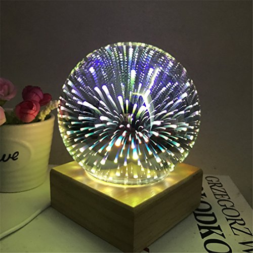 Tmore Globe Glass 3D Fireworks Night Light Magic Crystal Ball Lamp Colorful Sphere Lights Fireworks Decoration Table lamp DC5V (Pattern Crystal Table Lamp)