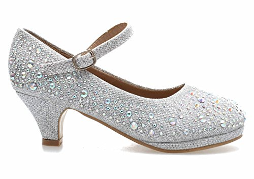 Titan Mall Forever Kids Dana-58k Mary Jane Dress Pumps, Silver 1 M US Little Kid -