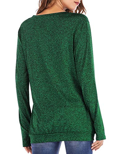 Defal Womens Long Sleeve Round Neck Quick-Dry Top T-Shirts Loose Gym Sports with Thumb Holes Pockets Fashion Tunic Blouse (Green,XXXL) by Defal (Image #3)'