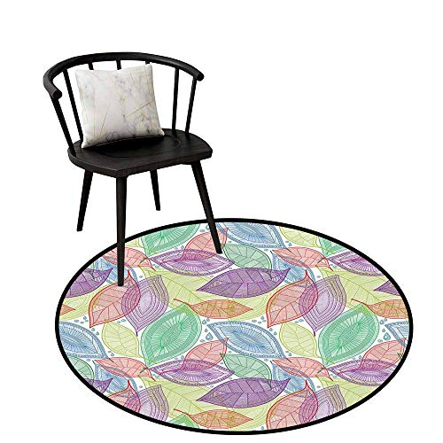 (Round Soft Area Rugs Abstract,Ornate Patterned Leaves Environmental Floral Nature Theme Water Drops Drawing,for Living Room Bedroom Kids Room Nursery 28