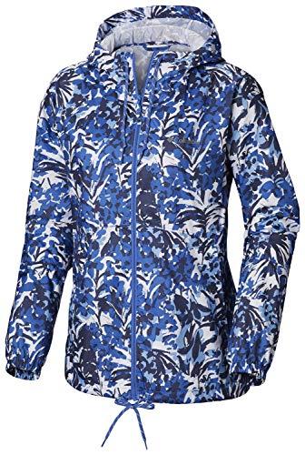 Columbia Women's Flash Forward Windbreaker, Arctic Blue Tropical Floral Print Large